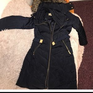 Michael Michael kors navy puffer coat w/belt